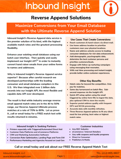 Reverse Email Append Brochure